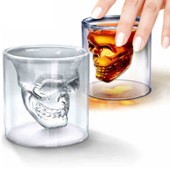 Harga Double Crystal Layer Glass Skull Head Cup Clear Drinking Bar Ware Shot Glasses