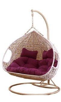 Harga Amber Double White Rattan Swing Chair with Red Cushion Cover