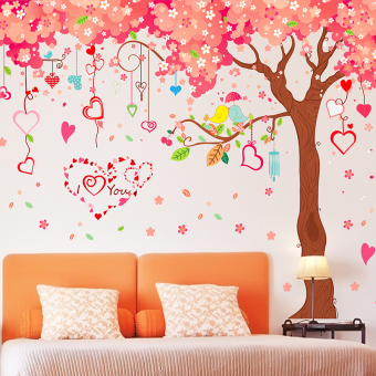 Harga Large pink love love cherry blossom tree wall stickers children's room bedroom wall romantic decoration