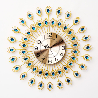 Harga Le Seoul simple European crystal diamond wrought iron mute Wall Clock