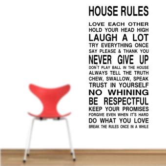 "Harga 8010 Room Wallpaper Decals Sticker ""House Rule"" Picture Black - Intl"