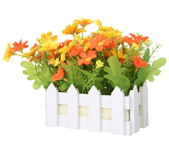 Harga leegoal Artificial Flowers Small Potted Plant Fake Chrysanthemum Set In Picket Fence,orange - intl