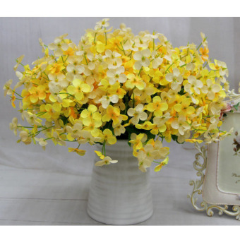 Harga Handmade Silk Flower Mini Hydrangea macrophylla Fake Flowers Simulation Floral Yellow