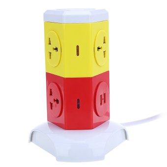 Alardor ALD - 2W4K - L Multicolor 180 Degree Rotating Socket Intelligent Vertical Surge Protection Power Strip - UK PLUG - intl