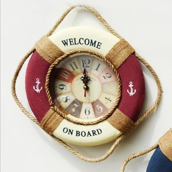 Harga Hanging decorative wall life buoy wall clock children's room decorative products pendant watch fabric Watch shop restaurant tea shop