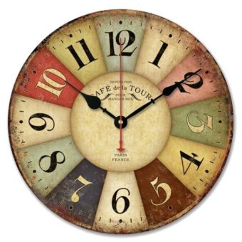Harga Hot Marketing Vintage France Paris Colourful French Country Tuscan Style Paris Wood Wall Clock