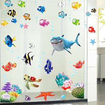 Harga Kindergarten cartoon underwater world of marine animals wall stickers children's room bathroom toilet stickers