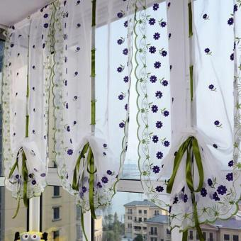 Harga Flower color Tulle Door Window Curtain (purple flowers)