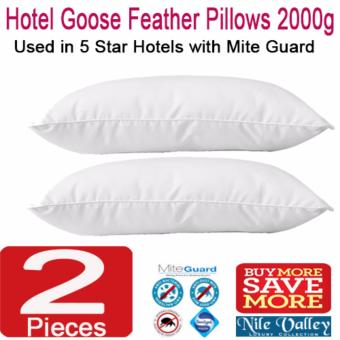 Nile Valley's 5 Star Hotel Goose Feather Pillow 2000g with Mite Guard for Good Night Sleep