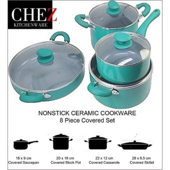 Harga NONSTICK Cookware Set of 8PC - CHEZ (TEAL)