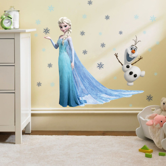 Harga Laily Frozen Series PVC Removable Vinyl Art Quote Wall Stickers Creative Kind Of Home Textiles Wall DIY Decoration With 3D Effect (Elsa & Olaf)