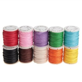 Harga 10pcs 10M 1MM Waxed Cotton Cords Strings Ropes for DIY Necklace Bracelet Craft Making (Random Color)