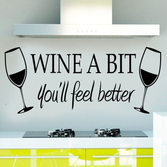 Harga 1pc Wine A Bit Vinyl Wall Art Wall Sticker Dinning Kitchen Removable Decals- - intl
