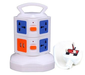 Harga 7Way Outlet Socket Extension Lead Surge Protected Adaptor Power Strip with 2 USB Port Charger - UK Plug (7 Way + 2 USB Port)