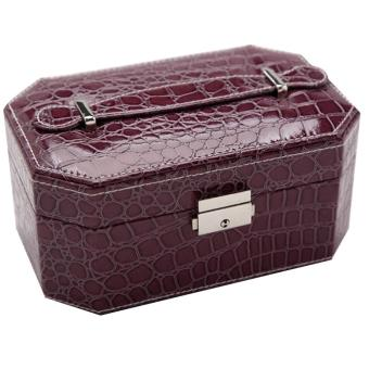 Harga PU Leather Double Layers Jewelry Box Purple - intl