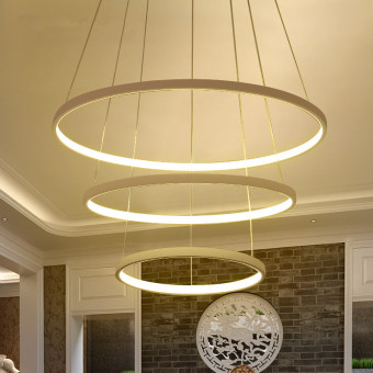 Harga LED Pendant Lights (70+50+30CM ) (Warm Light) DSX3308 Creative Ring Acrylic Lamps Bar Restaurant Bedroom Lightings - intl