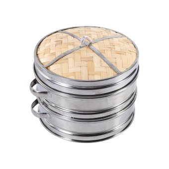 Harga Two Tiers Food Dim Sum Bamboo Steamer - intl