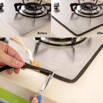 Black Home Kitchen Antifouling Collision Gas Stove Waterproof Sealing Strip Tape - intl