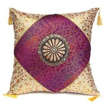 Retro Vintage Cotton Square Throw Cushion Cover Pillow Case Sofa Home Decor Purple (EXPORT)