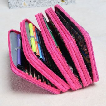 Harga 4 Layers Capacity Pencil Pen Case Travel Makeup Storage Bag Rose Red (EXPORT)