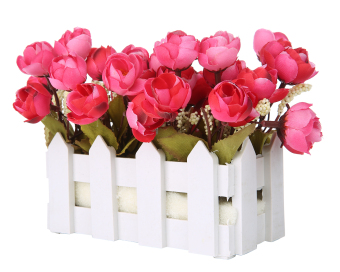 Harga niceEshop Artificial Flowers Small Potted Plant Fake Camellia Sasanqua Set In Picket Fence,wine Red