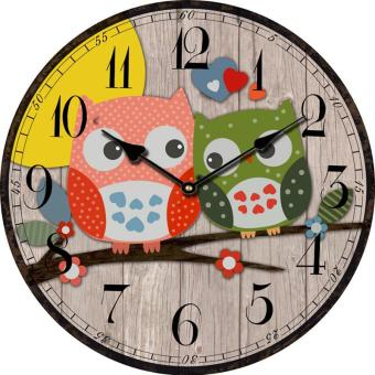 Harga Bird Style Kids Owl Wall Clock Vintage Antique Wooden Wall Clock Modern Design Large Decorative Wall Clocks Home Decor - intl