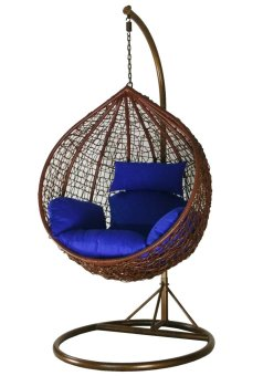 Harga Amber Initial Coffee Rattan Swing Chair with Blue Cushion Cover