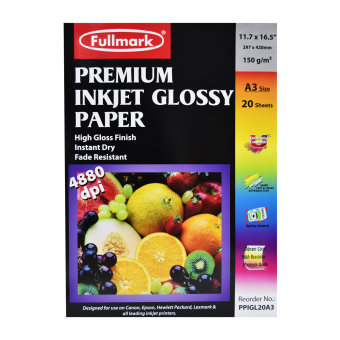 Harga Fullmark Premium Inkjet Glossy Paper (Photo Paper), A3 size, 29.7cm X 42cm each (1 Pack, 20 sheets per pack) - compatible with HP, Canon, Epson, Lexmark and all leading inkjet printers