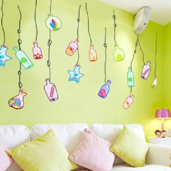 Harga Cozy bedroom bedside removable wall stickers drift bottle living room tv background wall decoration sticker sticker