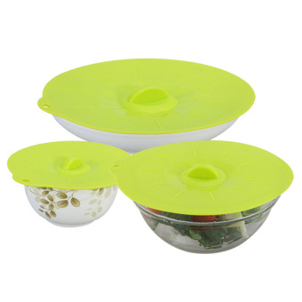 Harga Cegar Reusable Platinum Silicone Food Fresh Cover 3 Size/Set (Green) - Intl