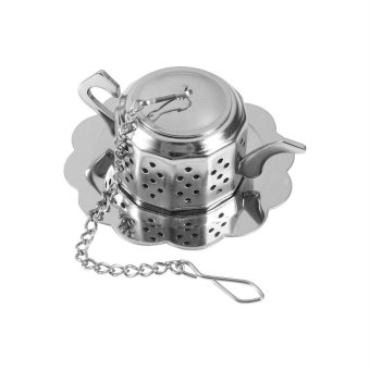Harga Stainless Steel Loose Tea Infuser Leaf Strainer Filter Teapot Shape - intl
