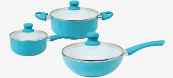 Harga CERAMIC INDUCTION Cookware - CHEZ Ceramic Set of 6PC (Turquoise)