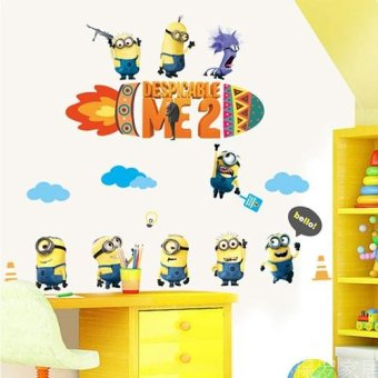 Harga Cartoon pvc wall stickers environmental protection cute little yellow man boys and girls children's room decorative wall sticker