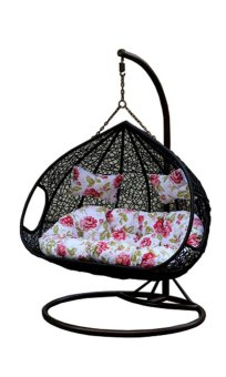Harga Amber Double Black Rattan Swing Chair with Peony Flower Cushion