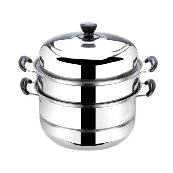 Harga 28cm Stainless Steel Steamer Cookware Multi-functional Three Layers