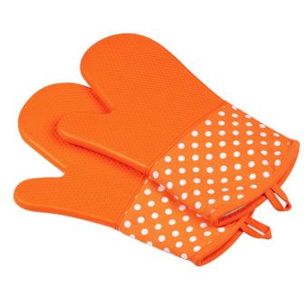 Harga Microwave Oven Silicone Glove Heat Resistant Thickened Mitt (Orange) - intl