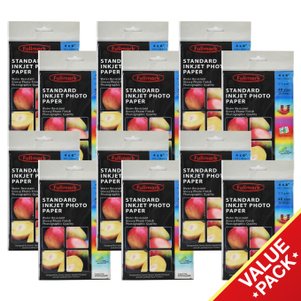 Harga Fullmark Standard Inkjet Photo Paper Super Ultra Value Set, 4R size, 10.2cm X 15.2cm each (12 Packs, 20 sheets per pack) - compatible with HP, Canon, Epson and all leading inkjet printers