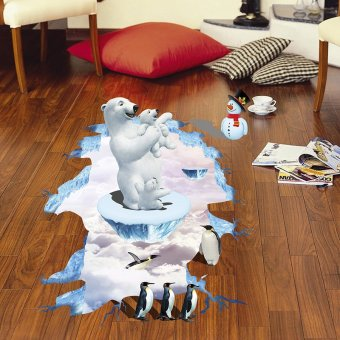 Harga Floor stickers cartoon children's room wall stickers boys bedroom decor sticker animal penguins and a polar bear