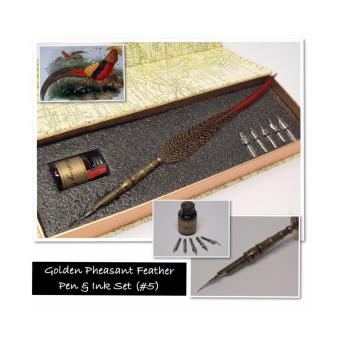 Harga Golden Pheasant Feather Quill Fountain Calligraphy Pen with Nibs Set
