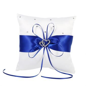 Harga 20x20cm Wedding Ring Bearer Holder Pillow With Bowknot (Blue) - intl
