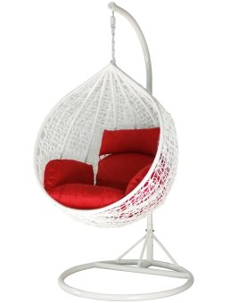Harga Amber Initial White Rattan Swing Chair with Red Cushion Cover