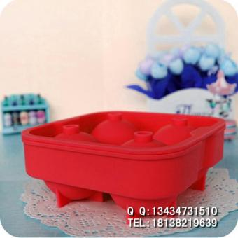 Harga Novelty Food-Grade Silicone Ice Ball Mold Tray With 4 X 4.5cm Ball Capacity