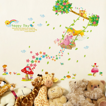 Harga The new swing girls cozy nursery wall stickers children's room entrance corridor background wall decorative painting