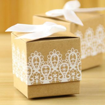 Harga 50 Pcs Heart Candy Box Folded Kraft Paper With Burlap Twine - intl