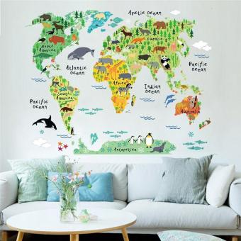 Harga english letters animals world map wall stickers study room decals kids room decor living room mural art posters - intl