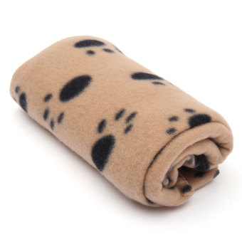 Pet Paw Print Touch Soft Mat Fleece Dogs Puppy Cat Blankets (brown) (EXPORT