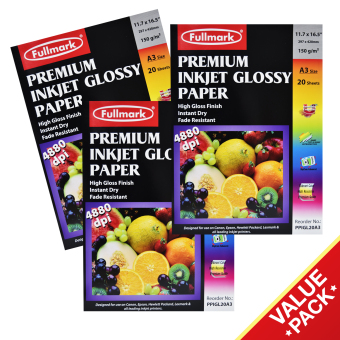 Harga Fullmark Premium Inkjet Glossy Paper (Photo Paper) Value Set, A3 size, 29.7cm X 42cm each (3 Packs, 20 sheets per pack) - compatible with HP, Canon, Epson, Lexmark and all leading inkjet printers