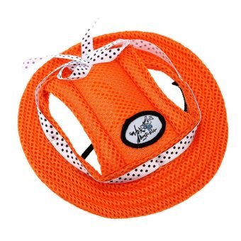 Harga BolehDeals Pet Dog Cat Kitten Princess Mesh Strap Hat Cap Sunbonnet Size M - Orange (EXPORT)