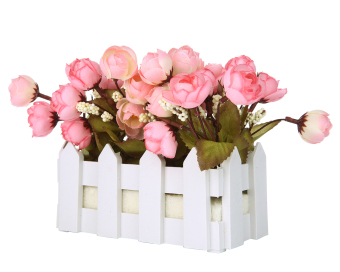 Harga niceEshop Artificial Flowers Small Potted Plant Fake Camellia Sasanqua Set in Picket Fence,pink