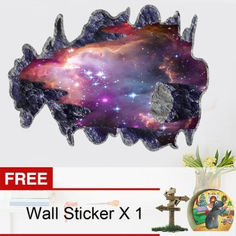 Harga Yika 3D Outer Space Galaxy Wall Sticker (Multicolor) [Buy 1 Get Freebie]